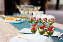 Catering banquet table, Canapes on restaurant table, catering, b Royalty Free Stock Photo