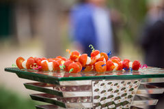 Catering banquet table, Canapes on restaurant table, catering, b Stock Image