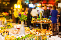 Catering banquet table, Canapes on restaurant table, catering, b Stock Images