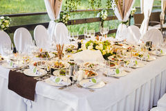 Catering banquet table with different food royalty free stock images