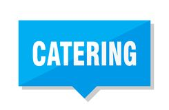Catering price tag. Catering blue square price tag vector illustration