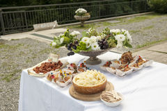 Catering buffet in the castle Royalty Free Stock Photos