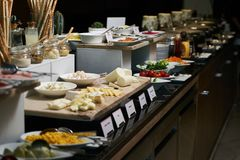 Catering buffet food in hotel restaurant, close-up. Celebration royalty free stock images
