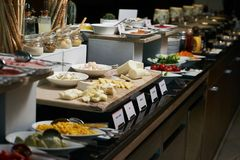 Catering buffet food in hotel restaurant, close-up. Celebration stock photography