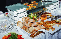 Catering buffet food indoor in luxury restaurant Royalty Free Stock Photo