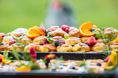 Catering buffet food outdoor. Cakes colorful fresh fruits berries oranges grapes and herb decorations Stock Images