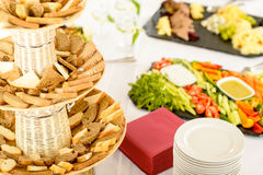 Catering buffet served food on banquet table Stock Image