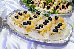 Catering buffet style - flacky pastry rolls with o Royalty Free Stock Image