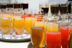 Catering buffet style - glasses with juices. Catering buffet style - glasses with different juices Royalty Free Stock Images
