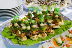Catering buffet style - sandwiches with sausages o. N lettuce beautifully decorated on the plate Royalty Free Stock Images