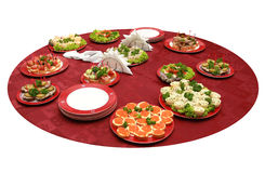 Catering buffet style - table served with light sn Royalty Free Stock Photos