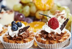 Catering cake food. Catering services background with cake fruit food in restaurant Stock Image