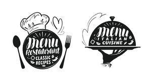 Catering, canteen concept. Illustration for design menu restaurant or cafe. Lettering, calligraphy vector illustration isolated on white background vector illustration