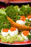 Catering - caviar appetizer 3. Catering - caviar appetizer in eggs beautifully decorated, macro view Royalty Free Stock Images