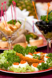 Catering - caviar appetizer. In eggs beautifully decorated, macro view Stock Photography