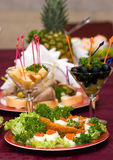 Catering - caviar appetizer. In eggs beautifully decorated, macro view Stock Photo
