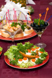 Catering - caviar appetizer. In eggs beautifully decorated Royalty Free Stock Photos