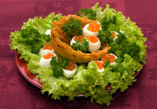 Catering - caviar appetizer. In eggs beautifully decorated Stock Image