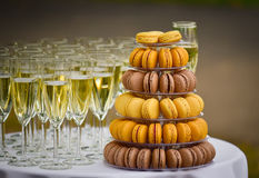 Catering champagne and macaroons Royalty Free Stock Photography