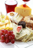 Catering cheese platter. With red wine Royalty Free Stock Photos