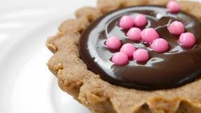 catering Chocoladedessert in tartlet, het roteren stock videobeelden