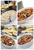 Catering cold dish collage. Catering table with details and decorations Stock Images