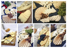 Catering collage. Catering tables with details and decorations in collage Royalty Free Stock Photos