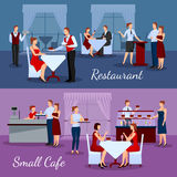 Catering Compositions Set. With restaurant and small cafe symbols flat  vector illustration Stock Photos