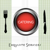 Catering concept. Colorful background with fork, knife and the word catering written inside of a red plate Stock Image