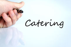 Catering concept. Pen in the hand  over white background Catering concept Royalty Free Stock Photo