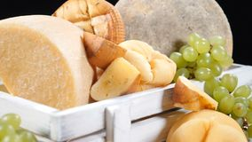Catering concept. Variety of hard cheese beautifully placed on black background. Zooming in into focus. hd. Catering concept. Variety of hard cheese beautifully stock video footage