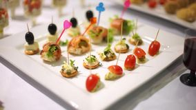 Catering. Decorated table, kanape salmon sprinkled with sesame seeds, stuffed with cheese-2 stock footage