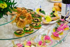Catering. Delicacies on the buffet. Sandwiches with mushrooms. Served table Royalty Free Stock Photo