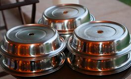 Catering dishes. Abstract view of shiny catering dishes Royalty Free Stock Photo
