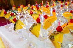 Catering - empty decorated cocktail glasses ready for pouring Royalty Free Stock Image