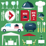 Catering equipment. Vector catering restaurant service equipment. Flat style. Eps 10 vector illustration