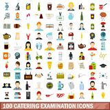 100 catering examination icons set, flat style. 100 catering examination icons set in flat style for any design vector illustration vector illustration