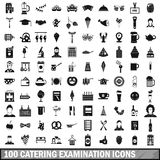 100 catering examination icons set, simple style Royalty Free Stock Photos