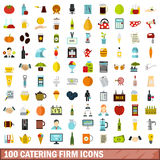 100 catering firm icons set, flat style Stock Photo