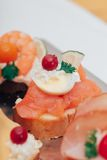 Catering food. Luxury food on wedding table. Catering Stock Images