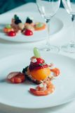 Catering food. Luxury food on wedding table. Catering Stock Photo