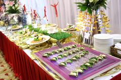 Catering food. At an outdoor wedding party Stock Photography