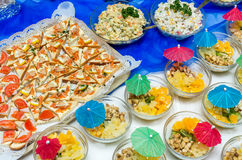 Catering food at a party Royalty Free Stock Photos