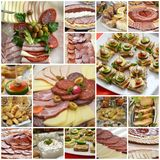 Catering food. Picture of a collage of a catering food Royalty Free Stock Photos