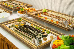 Catering food platter. Luxurious platters of catering food assortment Stock Photos