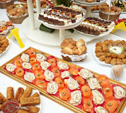 Catering food restaurant. Close up of catering food on table Royalty Free Stock Images