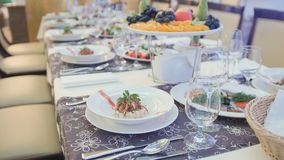 Catering food in restaurant before wedding royalty free stock photo
