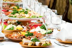 Catering food table set decoration royalty free stock photo