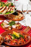 Catering food table set decoration Royalty Free Stock Image