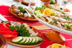 Catering food table set decoration Stock Photos